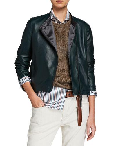 Collarless Asymmetric Zip  Leather Jacket