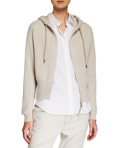 Ribbed Cashmere Zip-Front Hoodie Cardigan
