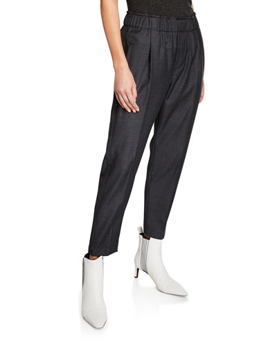 Sharkskin Wool Pull On Monili-Striped Pants