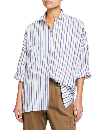 Relaxed Drop-Shoulder Striped Shirt