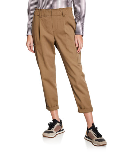 Monili-Trimmed Cotton Gabardine Pants