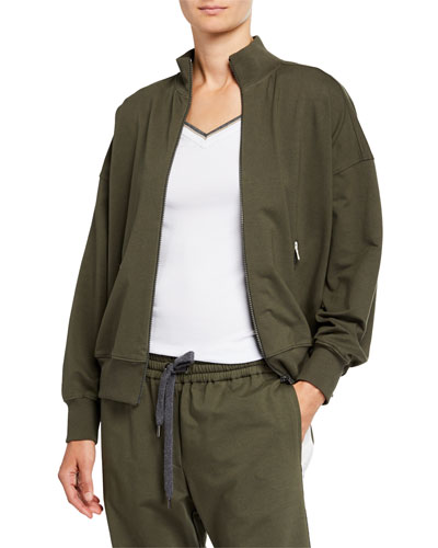 Monili-Trim Cotton Felpa Bomber Jacket