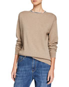 Brunello Cucinelli Cashmere Monili-Beaded Crewneck Sweater