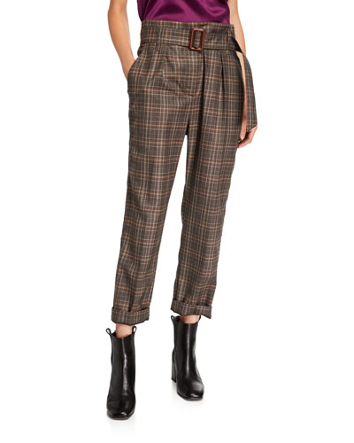 Belted Plaid-Wool Straight Leg Pants