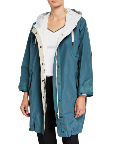 Zip-Front Hooded Taffeta Anorak