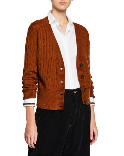 Cable-Knit Sequined Crop Button-Front Cardigan