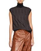 Brunello Cucinelli Sleeveless Monili-Beaded Argyle Turtleneck Sweater
