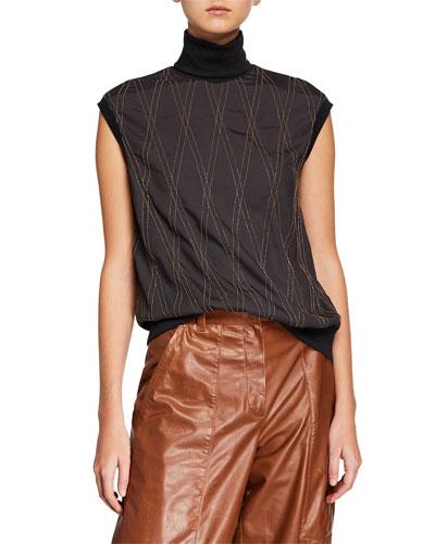 Sleeveless Monili-Beaded Argyle Turtleneck Sweater