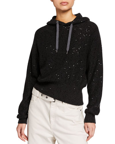 Cashmere-Silk Short-Bodied Hoodie Sweater