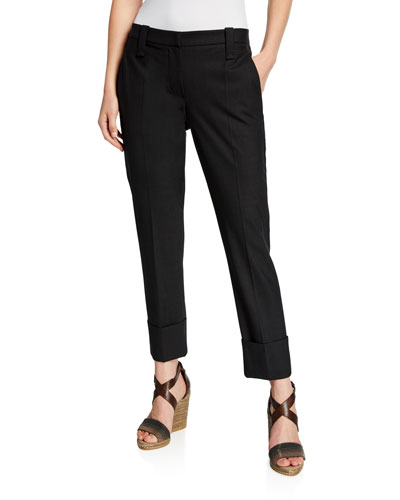 Wool Barrel-Cuff Slash-Pocket Ankle Pants