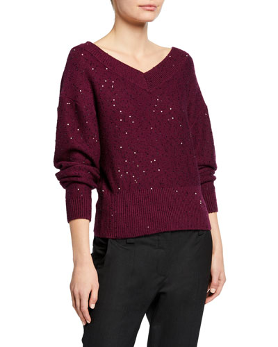 Paillette Double V-Neck Shorter Bodied Cashmere/Silk Sweater