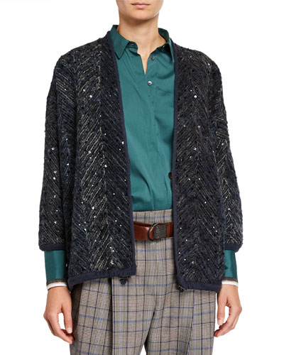 Sequined Tulle Cardigan Jacket