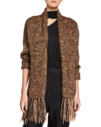 Ribbon Fringe and Sequined Cardigan