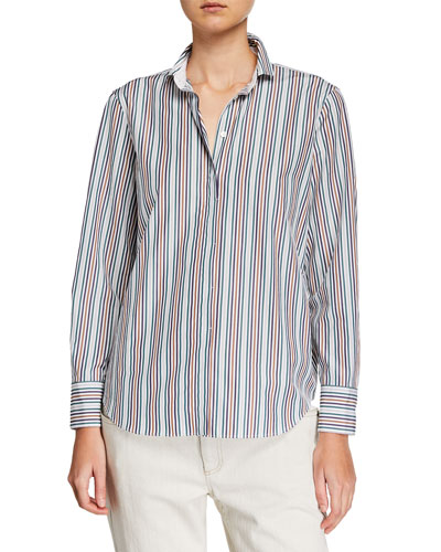 Monili-Beaded Striped Blouse