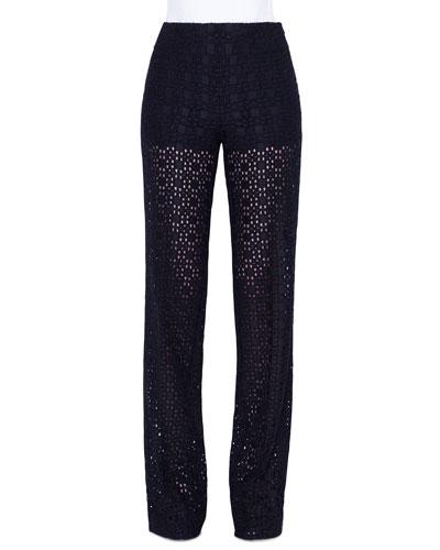 Carla Plaid-Embroidered Straight Leg Pants