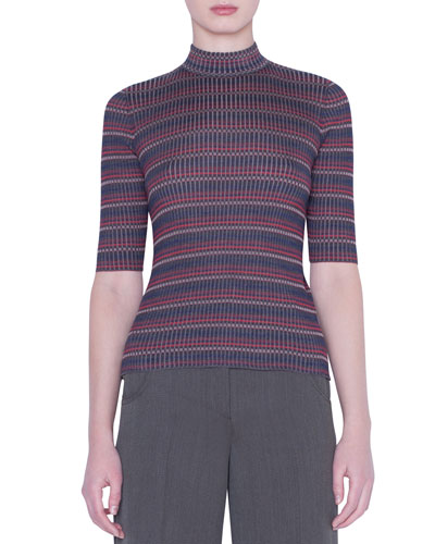 1/2-Sleeve Checked Silk-Knit Sweater
