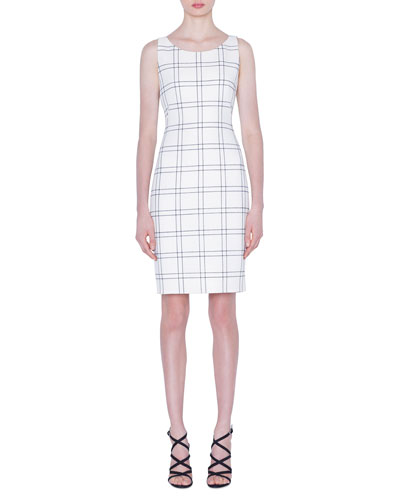 9fa5773690 Quick Look. Akris · Wool Cotton Double-Face Check Sheath Dress. Available  in White Pattern