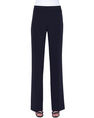 Carla Silk-Crepe Straight-Leg Pants