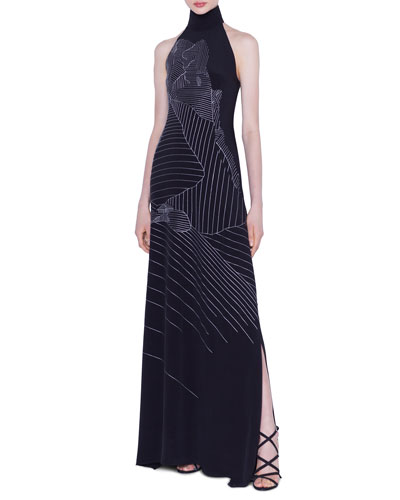 eb7dfe3db7 Black Embroidered Gown | Neiman Marcus