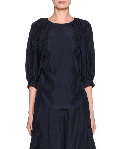 Silk Habutai Puff-Sleeve Blouse