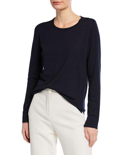 Piuma Crewneck Long-Sleeve Cashmere T-Shirt
