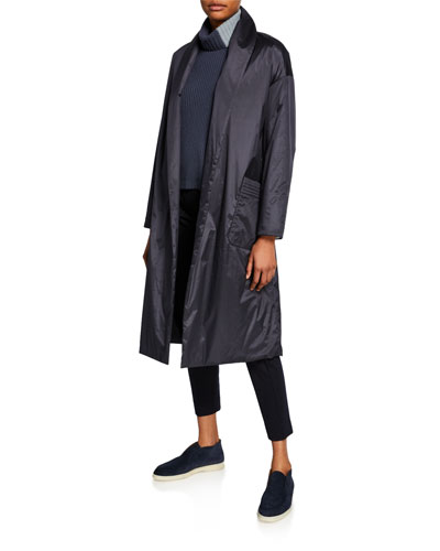 Techno Silk Princess Shawl-Collar Coat