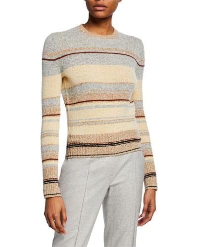 Striped Crewneck Crop Sweater