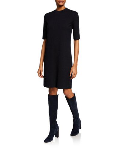 Cashmere-Silk 1/2-Sleeve Sheath Dress