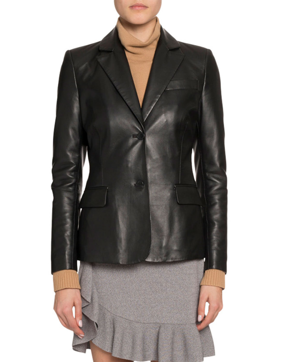 Single-Breasted Leather Blazer