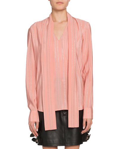 Long-Sleeve Tie-Neck V-Neck Blouse