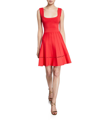 b182f90cd4c10 Quick Look. Herve Leger · Sleeveless Pleated Fit & Flare Dress
