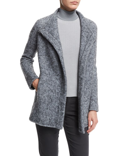 Funnel-Neck Asymmetric-Front Jacket, Pearl Gray