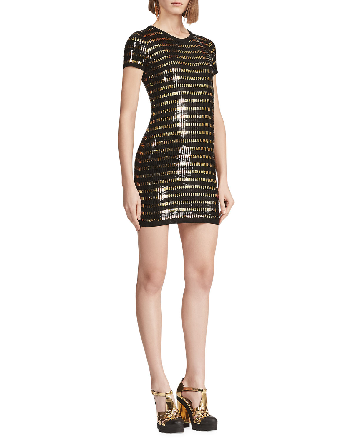 Ralph Lauren Dresses SEQUINED SHORT-SLEEVE WOOL SWEATER DRESS