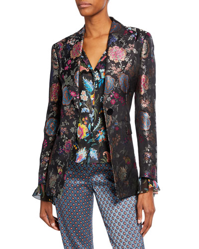 Floral Brocade Fitted Blazer