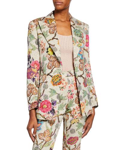 Cloque Floral Blazer