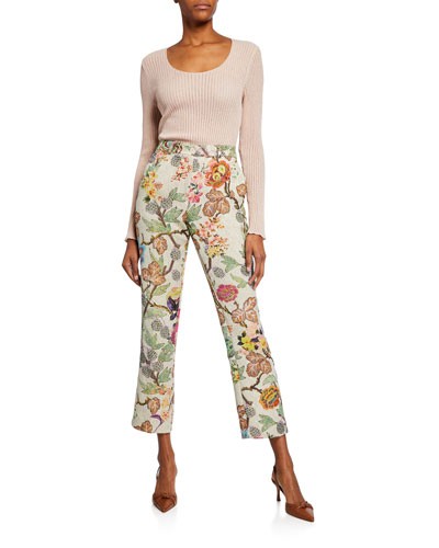 Floral Print Cloque Cropped Trousers