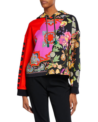 Floral-Paisley Patchwork Tribe Hoodie