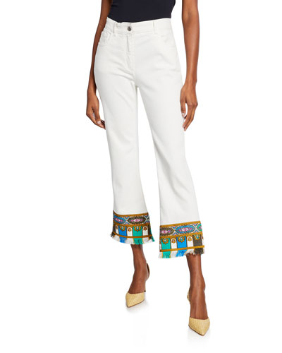 Embroidered Fringed Cropped Jeans