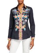 Etro Floral Fern Engineer Cotton Shirt
