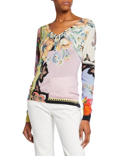 Paisley Silk-Cashmere V-Neck Sweater