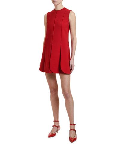 Sleeveless Petal-Hem Crepe Dress