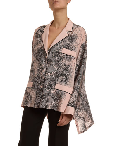 Lace-Print Crepe Bell-Sleeve Pajama Blouse
