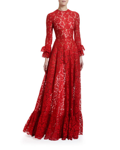 Flare-Cuffed Heavy Lace Gown