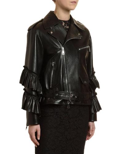 Leather Tiered Ruffle-Cuff Biker Jacket