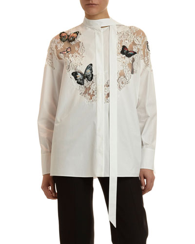 Butterfly Lace-Inset Button-Front Shirt
