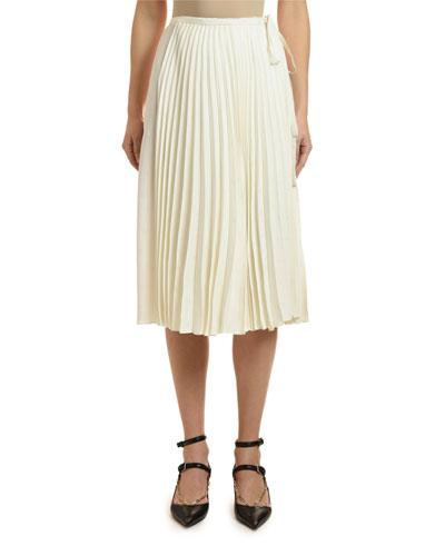 Logo Print Satin Wrap-Waist Skirt