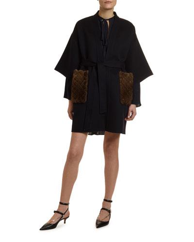 Fur-Pocket Kimono-Sleeve Double-Felt Coat