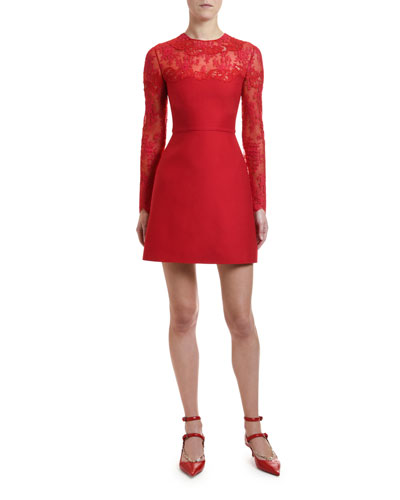 Scalloped Lace Inset Cocktail Dress