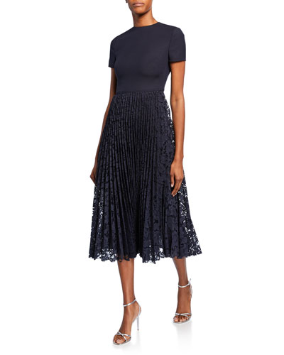Short-Sleeve Crepe Couture Cocktail Dress