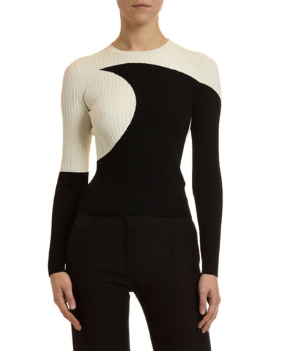 Moon-Inlay Ribbed Sweater